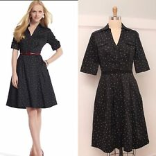 White House Black Market Polka Dot Shirt Dress Sz 6 50's Inspired
