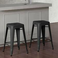 24 in Charcoal Grey Metal Counter Stools Set of 2 Bar Seat Chair Kitchen Table