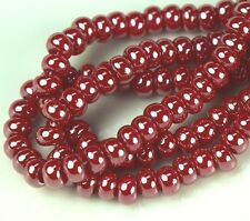 """Czech Glass Seed Beads 6/0 """" LUSTER RED """" Strands"""