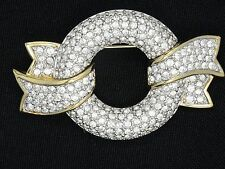 LARGE FULL PAVE BOW SWAN LOGO MADE WITH SWAROVSKI CRYSTAL PIN BROOCH ~ 2.25""