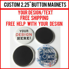 "5 Custom 2.25"" Inch Button Magnets Indie Bands Rock Pinback Promotional"
