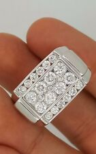 NEW 14K SOLID WHITE GOLD ROUND DIAMOND CLUSTER SQUARE BIG MENS RING SIZE(able) 8