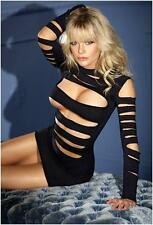 ML-6405 Sexy Clubwear Black Seamless Long Sleeve Cut Out Raver Dancer Mini Dress