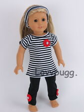 """Black Striped Leggings Set for 18"""" American Girl Doll Clothes  Widest Selection!"""