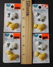 8 SHEEP & CHICK BUTTONS BY LA MODE RUBBER, CHICK BUTTON SCRAPBOOKING DECORATION