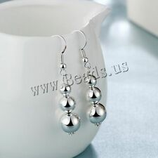 Women Fashion Jewelry 925 Sterling Silver Plated 3 Beads Dangle Hook Earrings