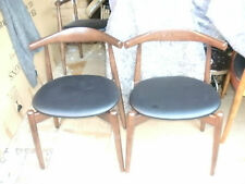 "VITRA INTERIORS PAIR OF RETRO ""CH20 ELBOW"" DINING CHAIRS/HARDWOOD FRAME"