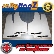 rallyflapZ to fit MAZDA 3 MPS 2nd Gen (10-13) Mud Flaps White Logo Black 3mm PVC