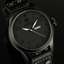 INFANTRY Mens Quartz Wrist Watch Date Day Analog Sport Luxury Black Leather US