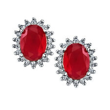 925 Sterling Silver Traditional Classic Oval Ruby Formal Earrings Pushbacks