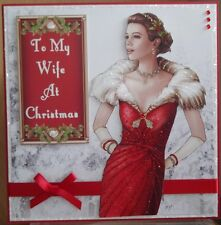 HANDMADE ART DECO CARD TO MY WIFE AT CHRISTMAS, A LADY IN RED IN WINTER SCENE