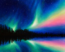 Original Art - Northern Lights Painting on Canvas - Signed by Chuck Black