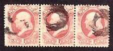 US O114 1c War Department Used Strip of 3 w/ Fancy Cancel (002)