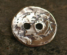 Rustic Sterling Silver Two Hole Button, Artisan Buttons by Cathy Dailey 153s