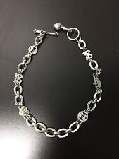 Juicy Couture Heart  Crown Silver Toggle Necklace With Charms Excellent Cond.