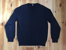 UNIQLO MENS NAVY BLUE V-NECK RIPPED JUMPER SIZE M