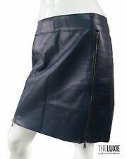 3.1 PHILLIP LIM  6 $595+ DARK BLUE LEATHER SKIRT WITH 2 FRONT INDUSTRIAL ZIPPERS