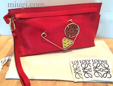 Auth Loewe Red Engraved Calf Leather T Pouch With Signature Pin Clutch