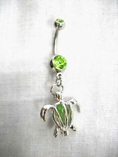 NEW 3D HONU SEA TURTLE w CAGED GREEN CRYSTAL CHARM LIME GREEN CZ 14g BELLY RING