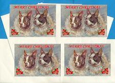 FRENCH BULLDOG PACK OF 4 CARDS DOG PRINT GREETING CHRISTMAS CARDS