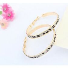 LARGE GOLD PLATED LEOPARD PRINT  WITH BRUSHED CRYSTALS HOOP EARRINGS 50MM
