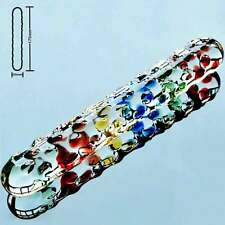 Double Ended Glass Dildo-Multicolor Fantasy Dots - 175mm 7'' Long