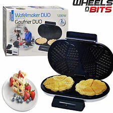 J-Living Electric Non - Stick Double Waffle Maker Iron Machine - Brand New