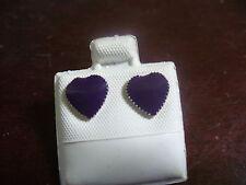 Vintage Pierced Post Purple Enameled Silvertone Metal Heart Stud Earrings
