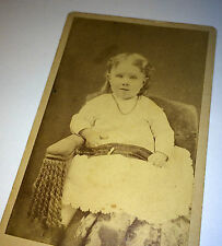 Antique Victorian Chubby Cheeks Little Girl W/ Necklace CDV Photo! Hartford, CT!