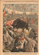 Bullfight Arena Arêne Corrida Taureau Banlieue de Paris France 1899 ILLUSTRATION