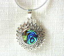 Abalone/Paua Shell Inlay Solid 925 Sterling Silver Sunflower Filigree Necklace
