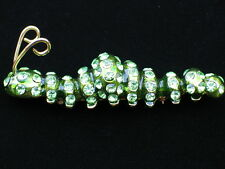 GREEN SLIDING CRAWLING BUG INSECT SNAIL SLUG CATERPILLAR PIN BROOCH JEWELRY 3""
