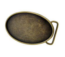 Distressed Bronze Oval Belt Buckle Blank - Add your Own Design - Custom DIY