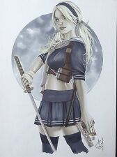 BABYDOLL SUCKER PUNCH Original Art Pinup Erotic Fantasy Blond Samurai Sword Gun