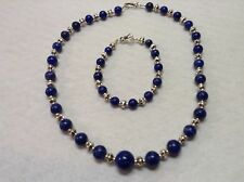 Southwestern Sterling Silver .925 and Lapis Necklace and Bracelet Set