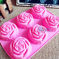 Silicone 6 Holes Flower Rose Soap Cup Cake Jelly Chocolate Mold Muffin Mould DIY
