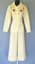 Vintage 1960s 70s Mod Toni Todd Pants Suit Cream Embroidered Flowers