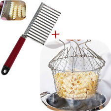 Stainless Steel Potato Chip Cutter with Foldab French Fries Chef Basket Strainer