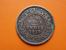 George V King Emperor 1/2 Pice India 1917 Bronze Coin