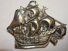 BEAU Vintage Sterling Pirate Ship Boat w/ sails Brooch Pin  Great old piece