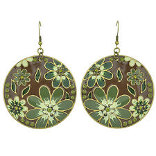 Vintage Style Brown and Green Flowers Circle Round Drop Dangle Earrings E1075