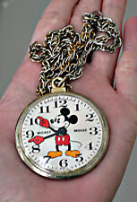 Vintage Bradley Walt Disney Productions Mickey Mouse Pocket Watch Necklace Chain