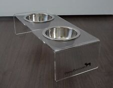 Double Dog Bowl / Raised Pet Feeders / Food and Water Bowls Set - SMALL