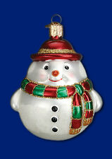 ROUND SNOWMAN with Scarf Ornament Old World Christmas NEW IN GIFT BOX
