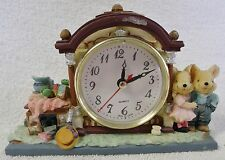 "VINTAGE CLOCKS--SMALL MANTEL CLOCK-""THE RABBIT FAMILY""--6 3/4"" LONG-GREAT PATINA"