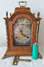 Warmink Shelf Mantel Clock Moon Dial Strikes Double Bell 70s Oak Wood Dutch 26cm