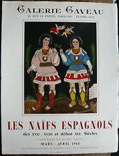 Belle AFFICHE Ancienne Les Naïfs Espagnols Galerie Caveau Paris 1961