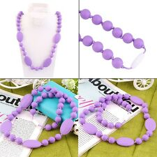 Silicone Baby Teething Nursing Necklace Chew Chewable Beads Chain Jewelry OE