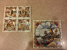 Vintage Colored Mosa Holland Decorative Windmill & Woodmen Tiles, Set of 2