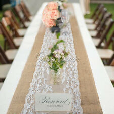 """Natural Hessian Burlap Lace Table Runner 108"""" x 12"""" Wedding Kitchen Table Decor"""
